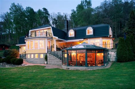 luxurious villa with traditional interior design in sweden