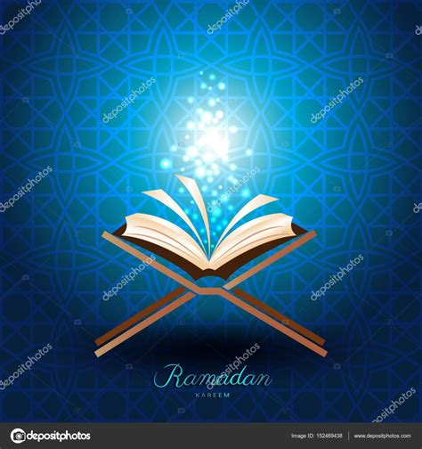 free quran logo design muslim quran with magic light for ramadan of islam stock