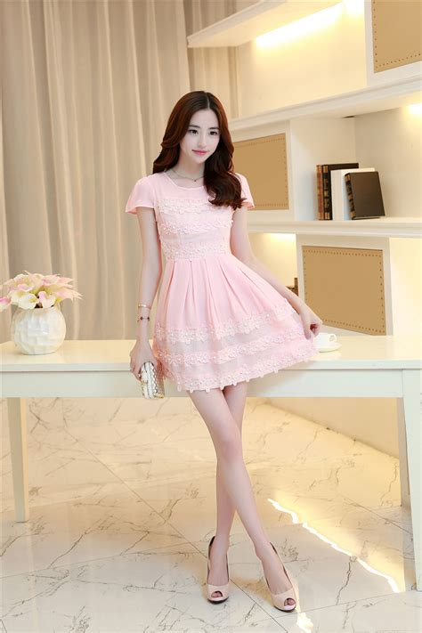 Dress Korea Pink By Griyaaglie korean fashion lace split sleeve beading pink