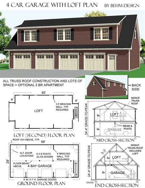 5 car garage plans 3068 5 58 x 28 4 car garage plan with loft behm garage