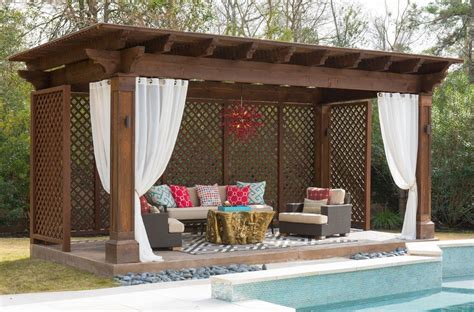 Cabana Designs Ideas Pool Tropical With Lounge Chair Wood Backyard Cabana Ideas