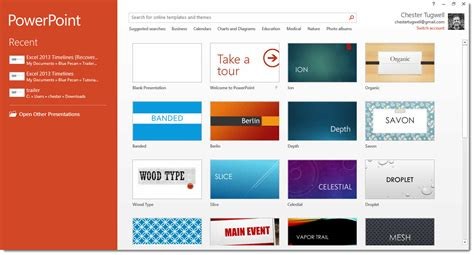 Powerpoint 2013 Start Screen How To Use It How To Powerpoint Themes 2013