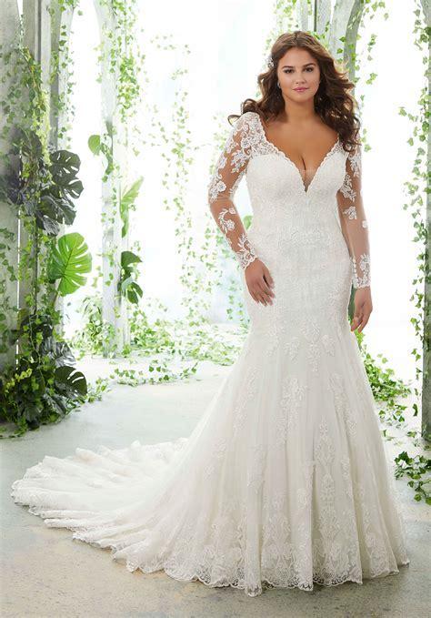 Plus Size Wedding Dress Lace Appliques on Net   Style 3151