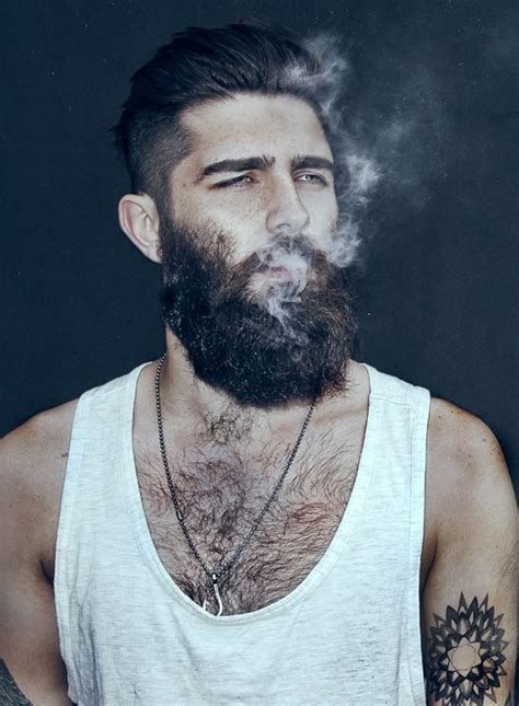 guys with beards and tattoos hipster beard tanktop smoking beard tattoo fashion men