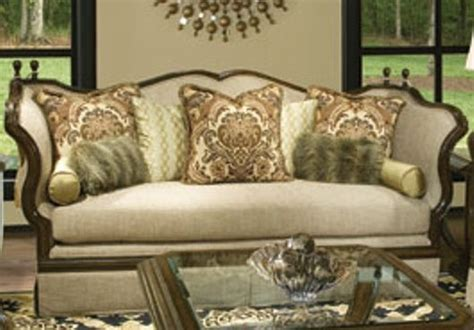 classic exposed wood frame antique style sofa set