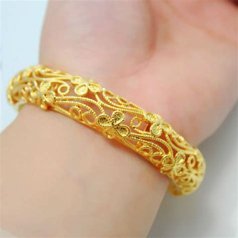 Gelang Hongkong 24k 1 170 Gram 2 a hundred flowers bracelet hollow package delivery