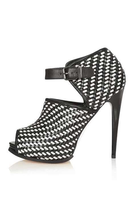 lyst topshop geisha woven shoe boots in black