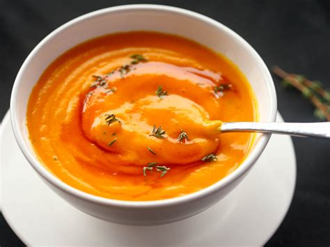 pumpkin foods roasted pumpkin soup with brown butter and thyme recipe