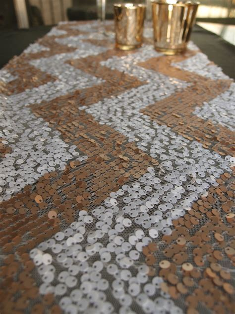 Chevron Sequin Table Runner   Champagne & White