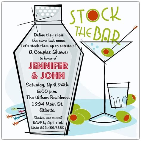 stock the bar invitation templates retro martini stock the bar shower invitations paperstyle