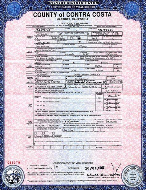 Contra Costa County Birth Records Birth Certificate California Contra Costa County Choice Image Certificate Design And