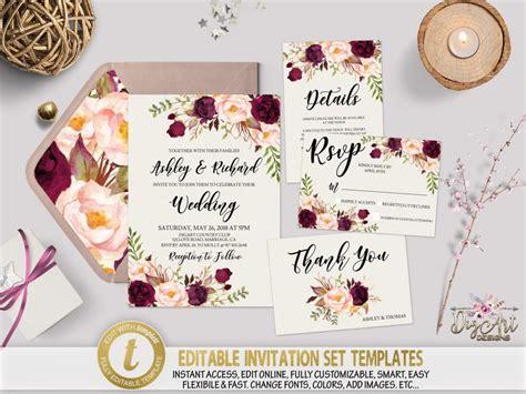 Printable Floral Wedding Invitation Template Set Editable Marsala Boho Wedding Invite Burgundy Maroon Wedding Invitation Templates