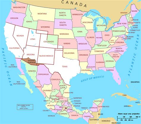 map united states and mexico united states and mexico map