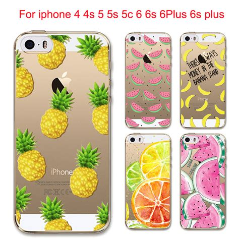 Heathers Iphone 4 4s 5 5s 6 6s 6 Plus 6s Plus fruit pineapple lemon banana fashion soft silicon transparent thin cover for apple iphone 4