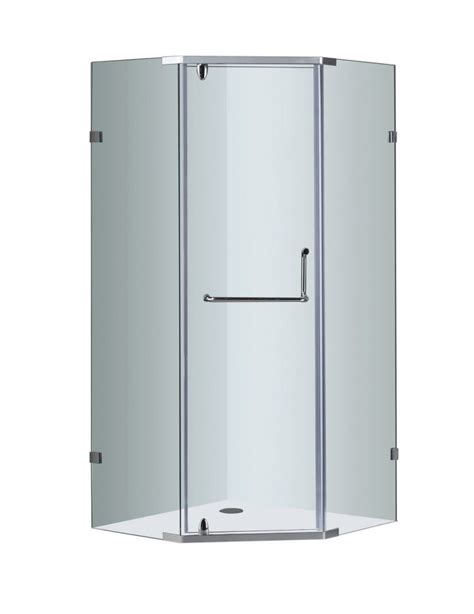 38 Neo Angle Shower Door Aston 38 Inch X 38 Inch Neo Angle Semi Frameless Shower Enclosure In Chrome The Home Depot Canada