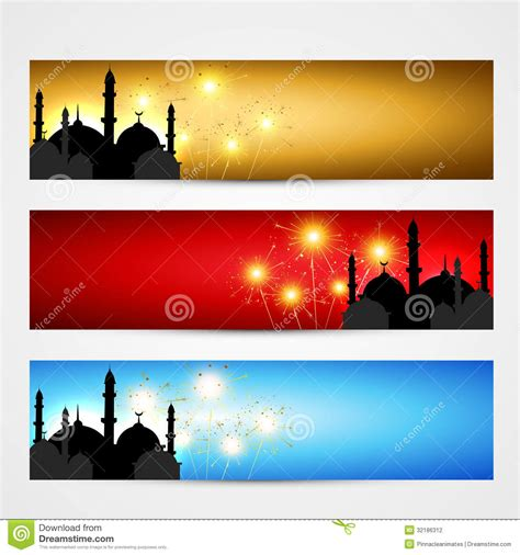 design banner islamic set of islamic headers stock photography image 32186312