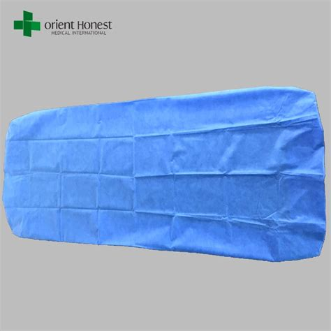 disposable bed cover for hotels hospital pp bed sheet sms blue surgical bed sheet