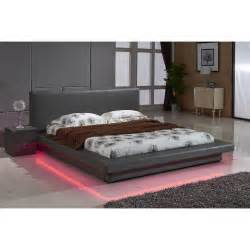 Contemporary Platform Bed Grey Leather With Led Decoration Light Contemporary Platform Bed Ebay
