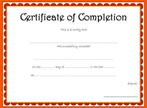 word template certificate of completion certificate of completion template word gallery template