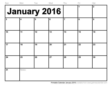 printable monthly calendar january 2016 printable calendar january 2016