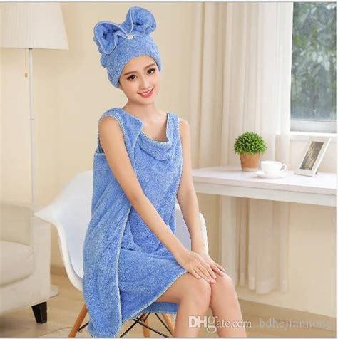 Nano Coral Velet Towel Blue towel set coral velvet microfibersbathing dress shower cap