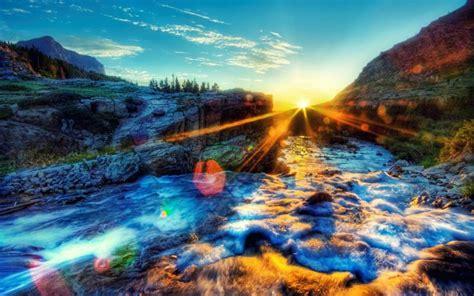 hd beautiful waterfall  amazing sunset wallpaper