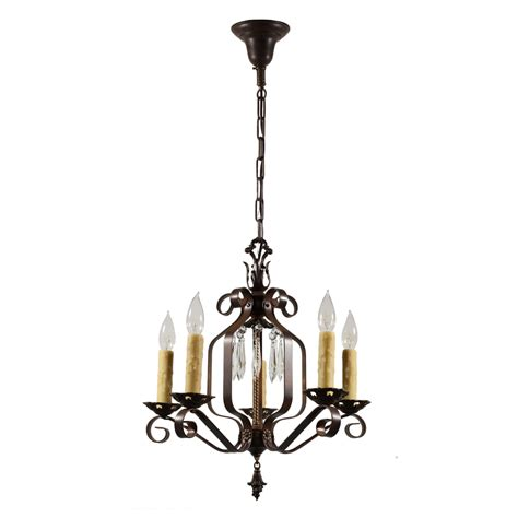 Chandelier Wrought Iron Marvelous Antique Five Light Wrought Iron Chandelier With Prisms 1920s Nc1561 Rw For Sale
