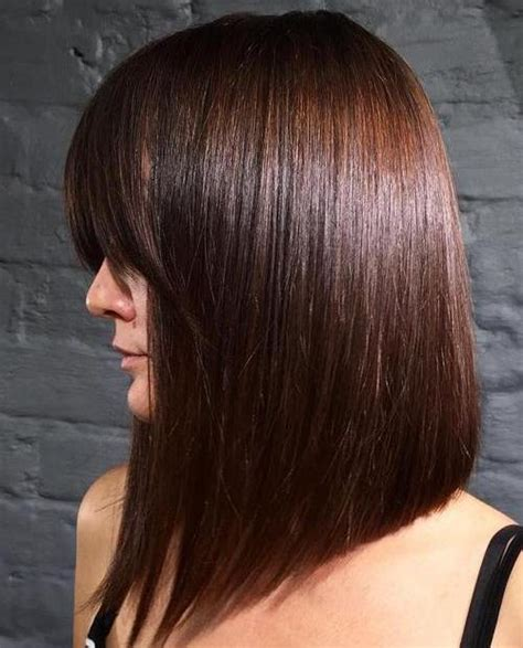 long angled bob with bangs 20 super chic hairstyles for fine straight hair