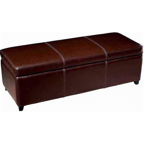 Leather Storage Bench Baxton Studio Leather Storage Bench Ottoman With Stitching Brown Walmart