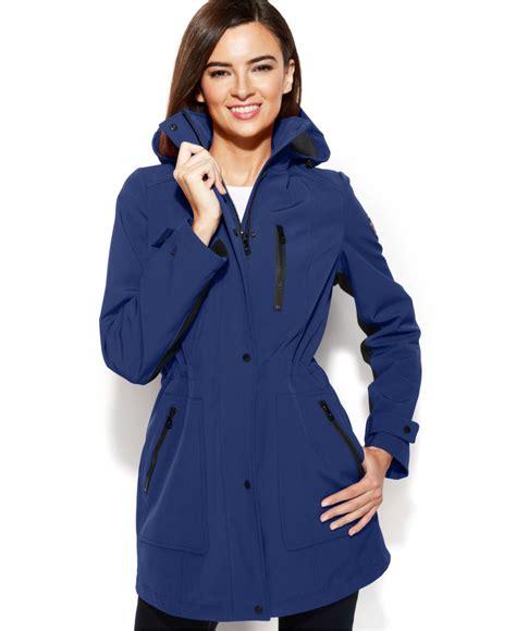 calvin klein performance moto scuba vest with hood calvin klein hooded cinch waist scuba jacket in blue