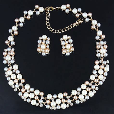 buy gold plated pearl necklace earrings wedding