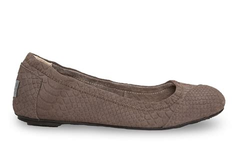 gray hepburn flat shoes lyst toms charcoal suede snake s ballet flat in gray