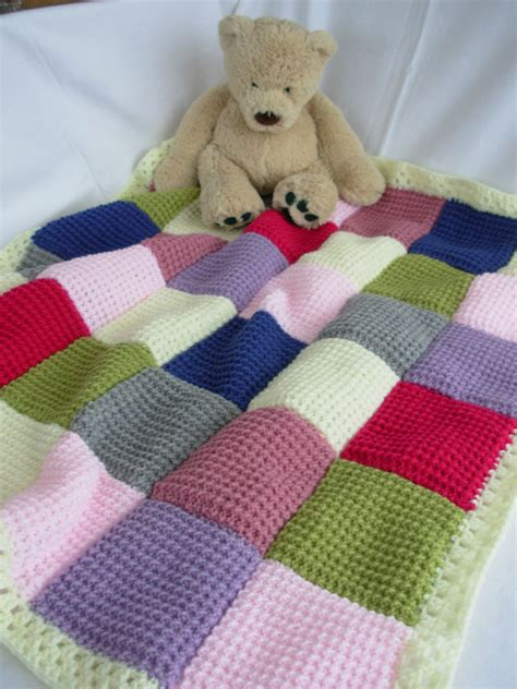 Handmade Blanket Ideas - handmade knitted patchwork baby blanket pink lilac