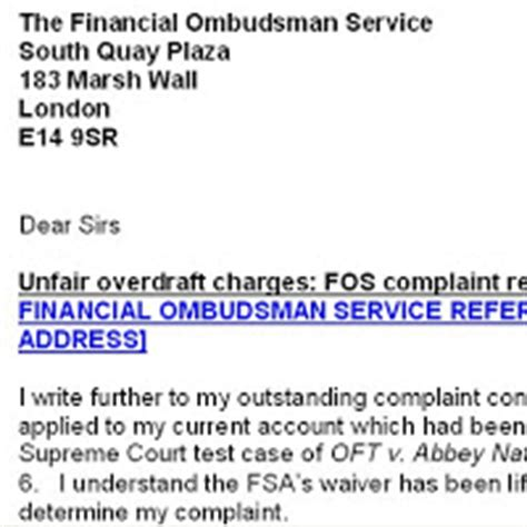 Financial Ombudsman Letter Writing Exercise Govan Centre Unfair Bank Charges Free Help To Amend Existing Complaint Letters