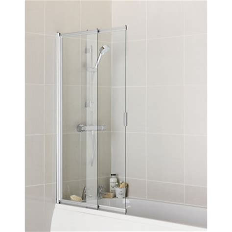 two panel sliding shower bath screen aqualux semi frameless shower screen 5mm glass