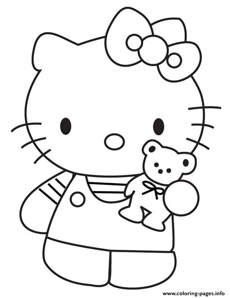 hello kitty coloring pages full size hello kitty showing teddy bear coloring pages girl with