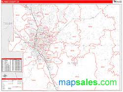 el paso zip code map el paso county co zip code wall map line style by