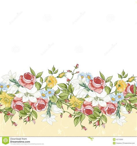 Vector Backgrounds With Roses For Invitations seamless floral border stock vector image 42710303
