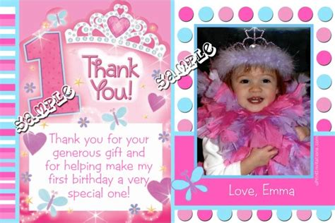 1st birthday thank you card template princess 1st birthday thank you cards