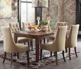 Mestler rustic brown dining table and 6 button tufted side chairs