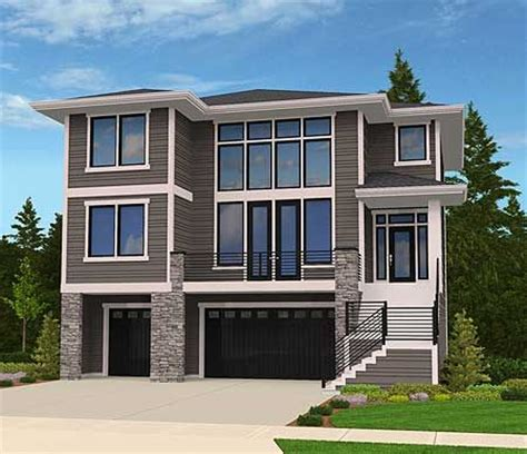 frame a sloping lot plans front sloping lot house plan craftsman craftsman home plans for plan 85102ms modern house plan for front sloping lot