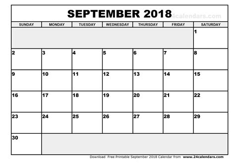 2018 Calendar September September 2018 Calendar Printable
