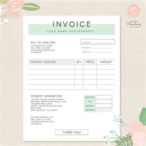 wedding invoice template for florist free joy studio