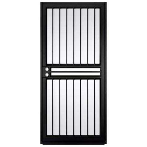 Glass Security Door Unique Home Designs 36 In X 80 In Guardian Black Surface Mount Outswing Steel Security Door