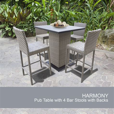 patio furniture pub table sets harmony pub table set with barstools 5 outdoor