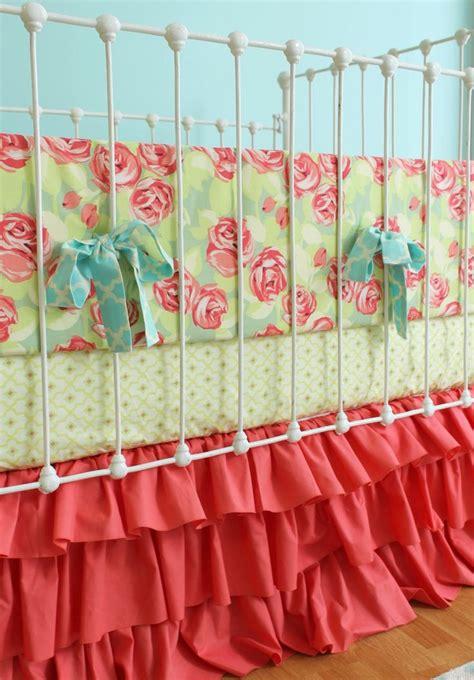 rose crib bedding coral baby girl bedding tumbling roses ruffles crib set