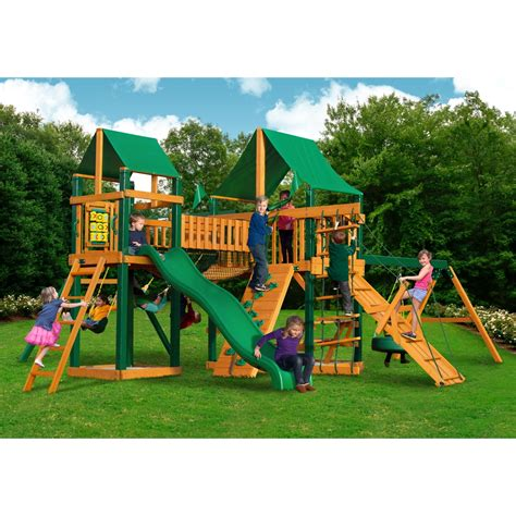 timber swing sets pioneer peak swing set w timber shield and deluxe green