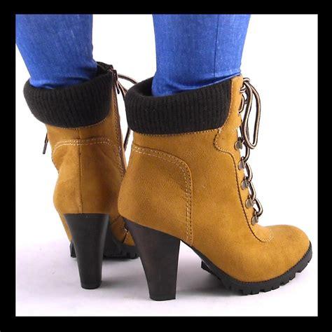 new womens camel chunky high heel sweater collar hiking
