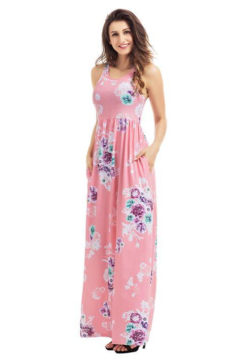 Boho Pink us 9 63 dusty pink floral print sleeveless boho dress dropshipping