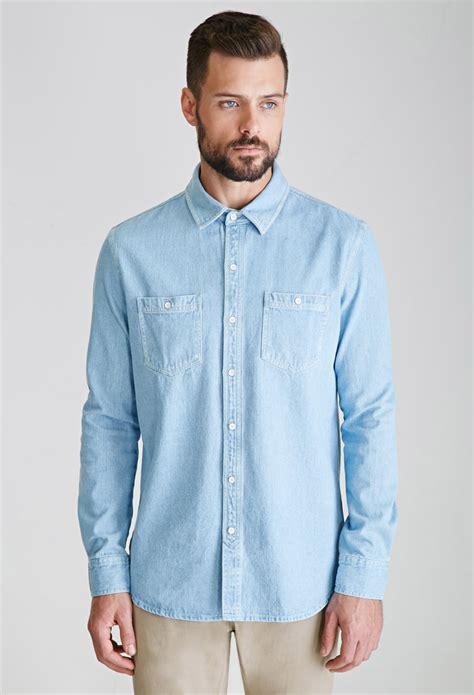 light denim shirt mens lyst forever 21 denim button down shirt in blue for men